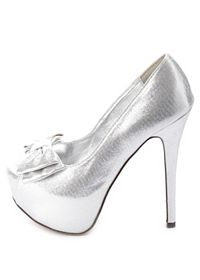 Metallic Peep Toe Bow Pumps