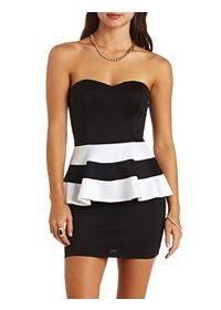 Strapless Striped Peplum Bodycon Dress