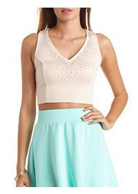 Rhinestone-Studded Deep V Crop Top