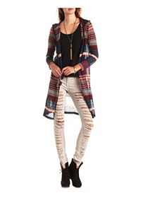 Mixed Stripe Open Knit Hooded Duster Cardigan