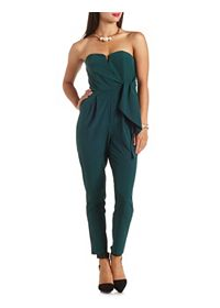 Notched Wrap-Front Strapless Jumpsuit