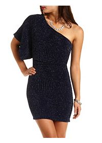Glitter Bodycon One Shoulder Dress