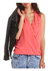 Draped Chiffon Sleeveless Wrap Top