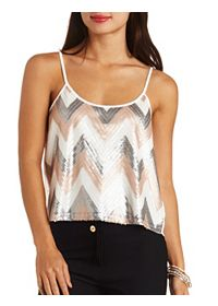 Chevron Sequin Swing Tank Top