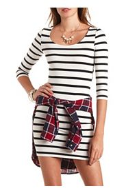 Three-Quarter Sleeve Striped Bodycon Dress