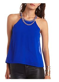 Chain Necklace Chiffon Halter Top