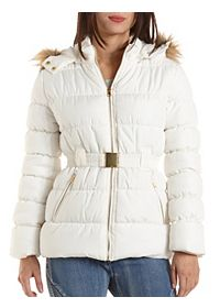 Belted Puffer Coat with Hood