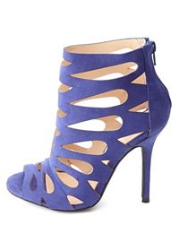 Laser Cut-Out Peep Toe Stiletto Heels