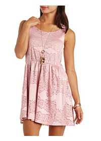 Sleeveless Lace Skater Dress