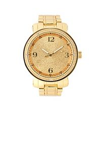 Oversized Gold Glitter Watch