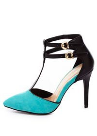 T-Strap Pointed Toe Heels