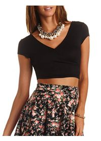 Short Sleeve Wrap Crop Top