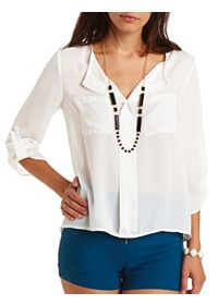 Sheer Draped V-Neck Chiffon Top