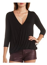 Oversized High-Low Draped Wrap Top