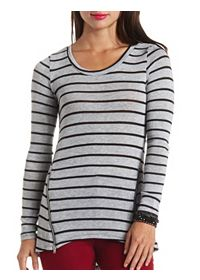 Double Zipper Sweater Knit Long Sleeve Striped Top