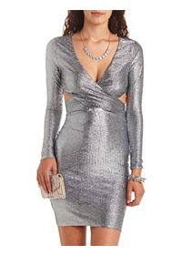 Long Sleeve Cut-Out Metallic Bodycon Dress