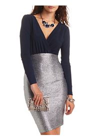 Shimmer & Surplice Long Sleeve Bodycon Dress