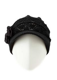 Bow-Topped Slouchy Visor Beanie