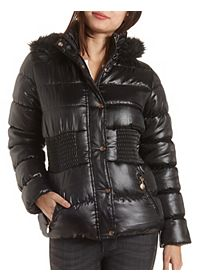 Hooded Puffer Coat with Pockets