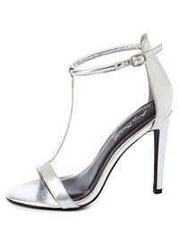 Textured Metallic T-Strap High Heels