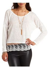 Lace Trim Sheer Slub Long Sleeve Top