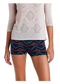 High-Waisted Tribal Chevron Print Bike Shorts