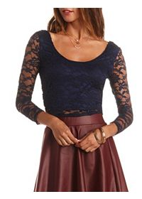 Plunging Double Scoop Lace Crop Top