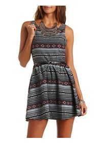 Tribal Woven Belted Skater Dress