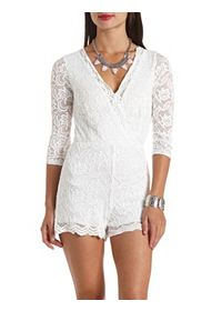 Three Quarter Sleeve Surplice Lace Allover Romper