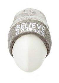 Believe in Your Selfie Ribbed Fold-Over Beanie