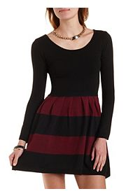 Striped Sweater Knit Skater Dress