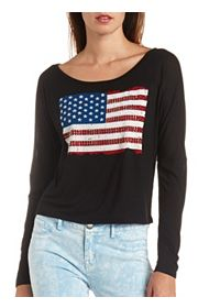 Rhinestone Americana Graphic High-Low Top