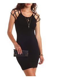 Cut-Out Caged Sleeve Bodycon Dress
