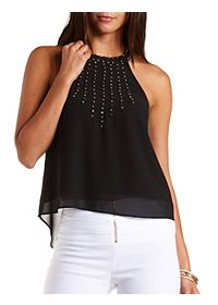 High-Neck Embellished Tank Top