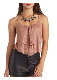 Sheer Metallic Layered Flounce Crop Top