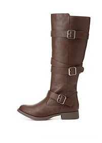 Belted Flat Riding Boots
