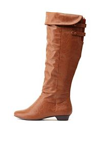 Covered Button-Belted Knee-High Boots