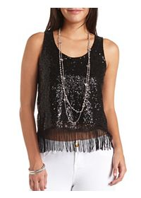 Sequin & Fringe Tank Top