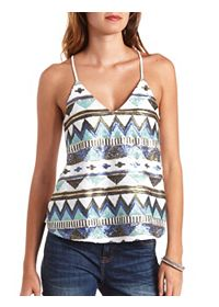 Geo-Tribal Sequin Swing Tank Top