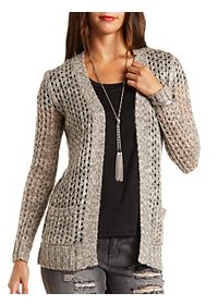 Marled Open Knit Cardigan Sweater