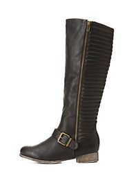 Quilted Zip-Up Riding Boots