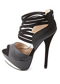 Qupid Peep Toe Textured Strappy Platform Heels