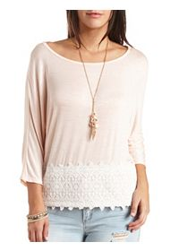 Lace Hem Knit Dolman Top