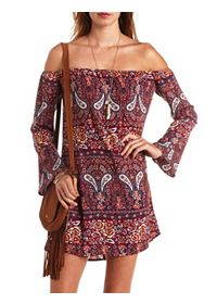 Floral & Paisley Off-the-Shoulder Shift Dress