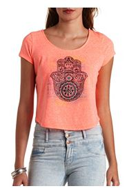 Bar-Back Rhinestone Hamsa Graphic Crop Top