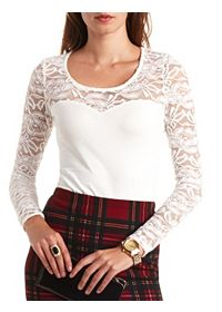 Lace Yoke Sweetheart Long Sleeve Top