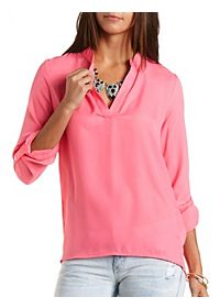 Mandarin V-Neck Tunic Top