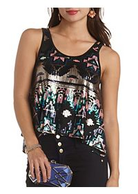 Aztec Sequin Trapeze Tank Top