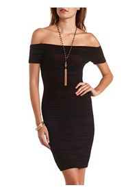 Off-the-Shoulder Ruched Mesh Bodycon Dress