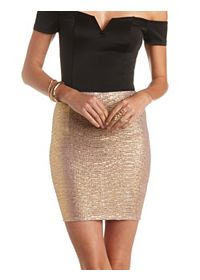 Gold Shimmer Bodycon Mini Skirt